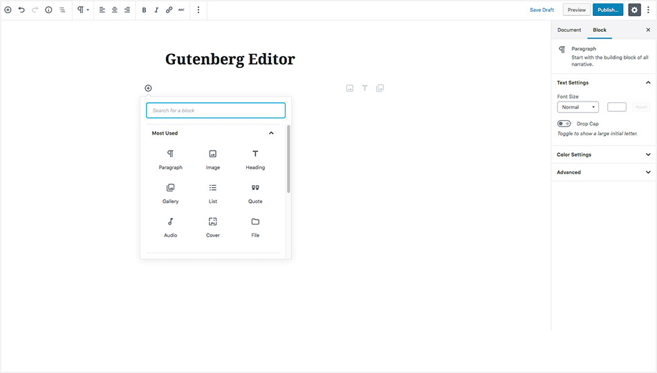 WordPress 5.0 Gutenberg Editor - Adding Blocks