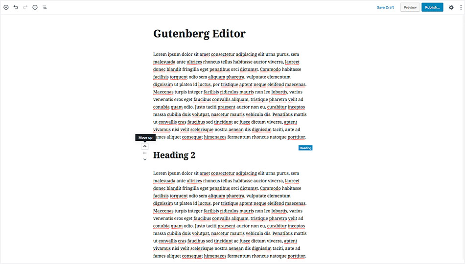 WordPress 5.0 Gutenberg Editor - Moving Blocks