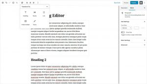 WordPress 5.0 Gutenberg Editor - Transfrom Blocks