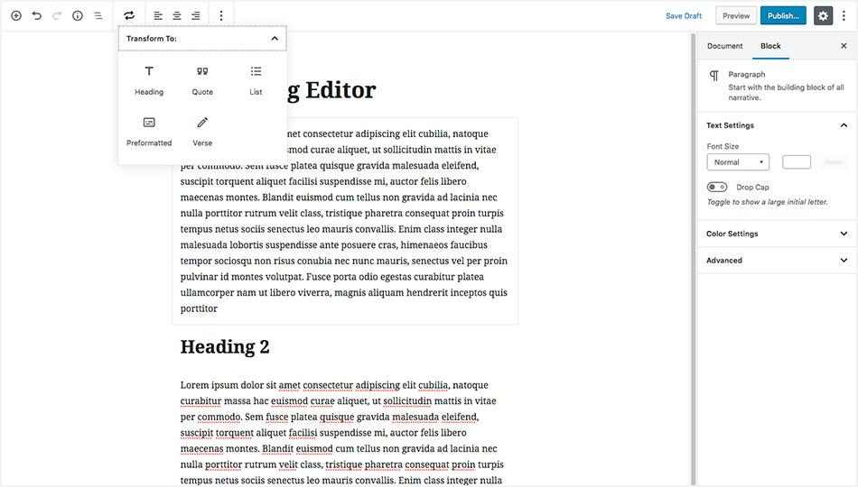 WordPress 5.0 Gutenberg Editor - Transfrom Blocks