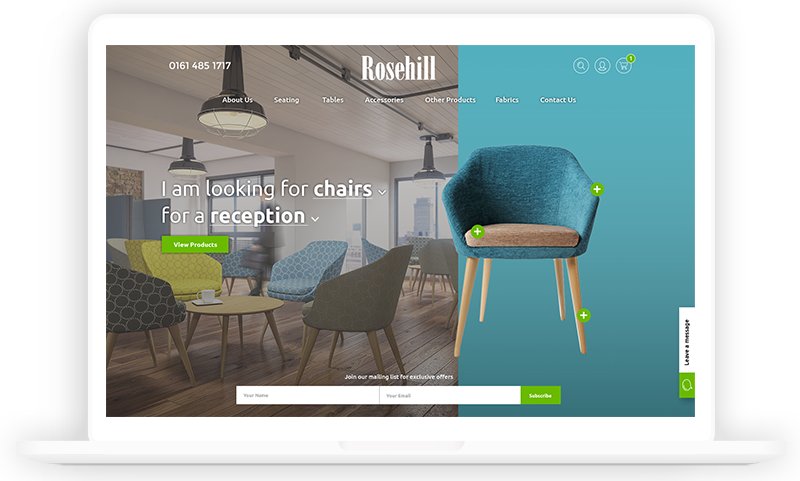 Rosehill Furniture Manufactoring Website design by Urbansoul Design