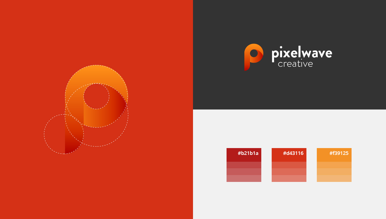 logo design process and color scheme used for Pixelwave Creative Branding