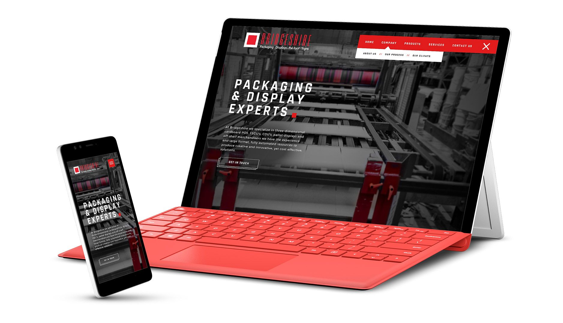 Bridgeshire packaging responsive website design on mobile devices
