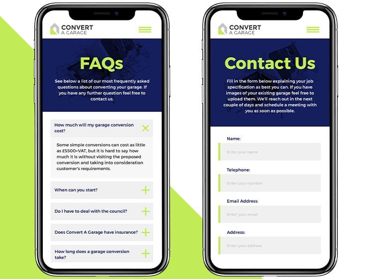 Convert A Garage website design on mobile devices
