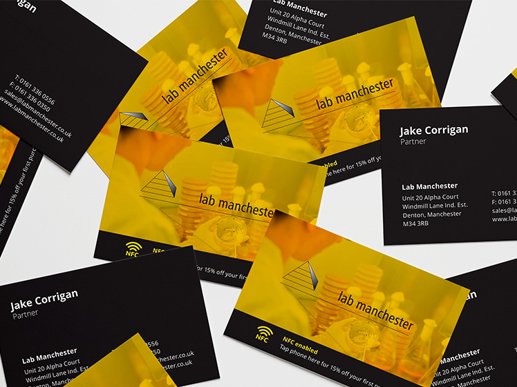 Lab Manchester Buisness cards designed by urbansoul design