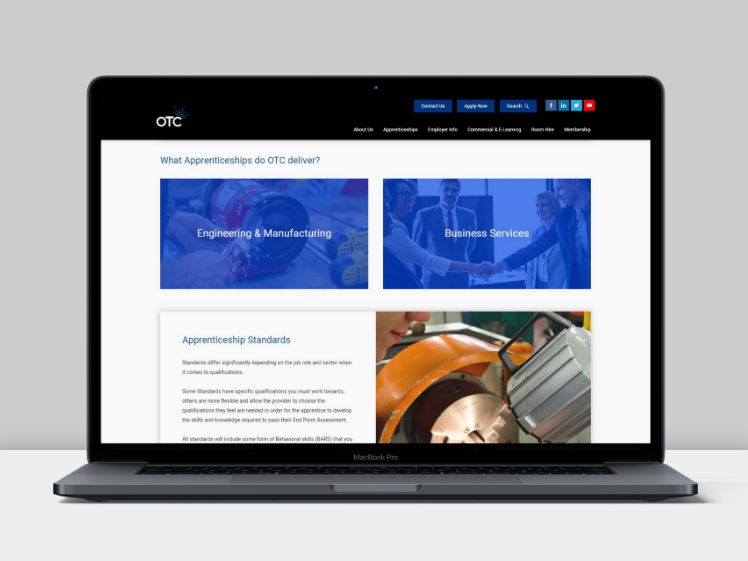 OTC website on laptop device