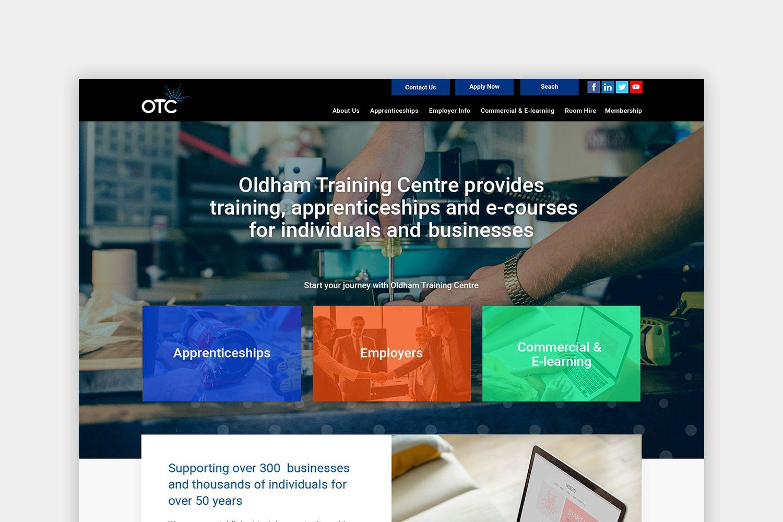 Oldham Training Centre homepage website design