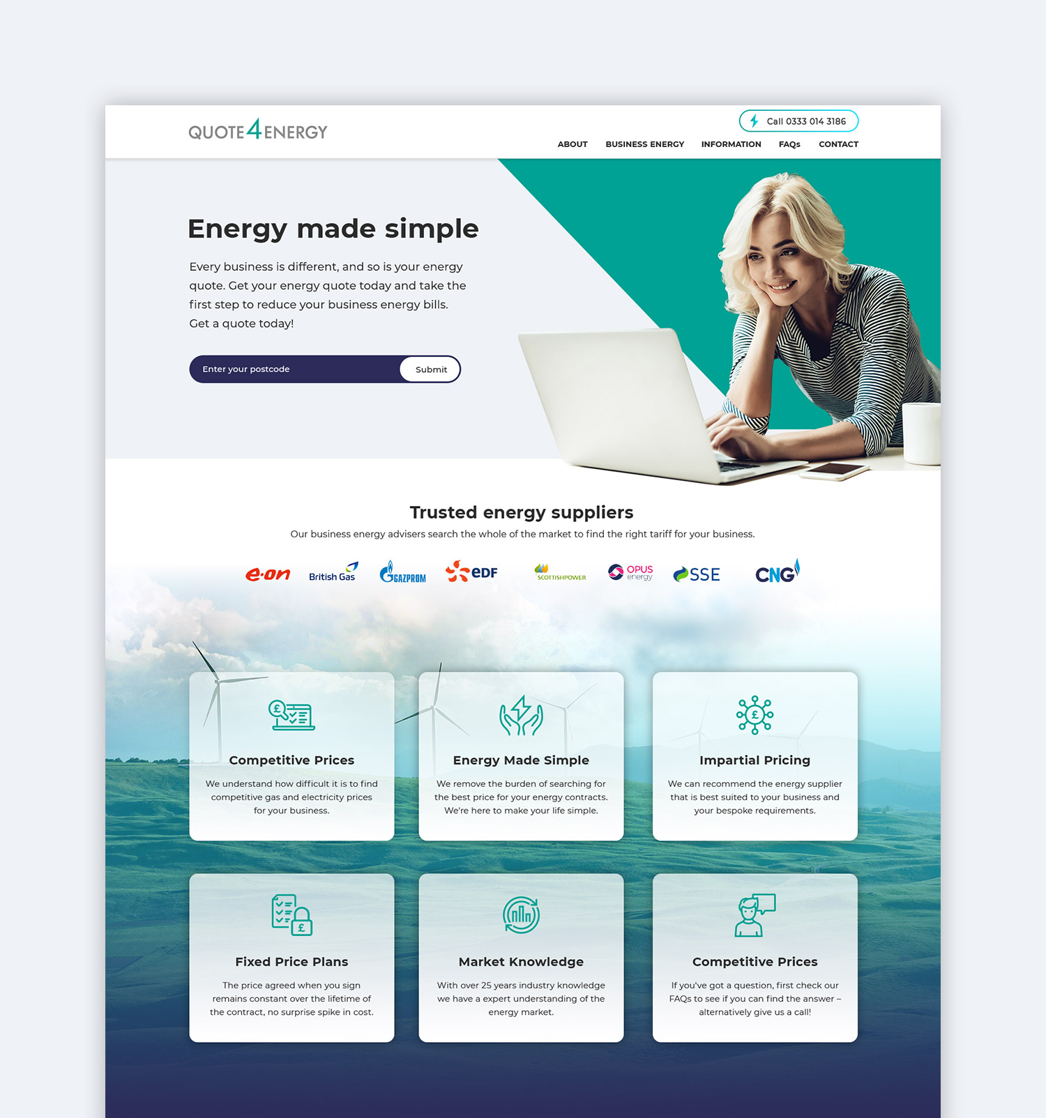 Quote4Energy full homepage website design