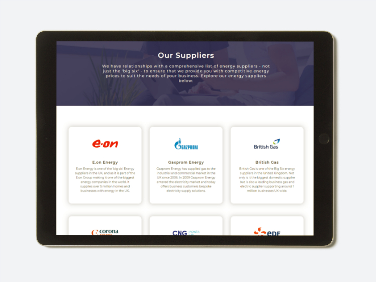 Quote4Energy website on tablet device
