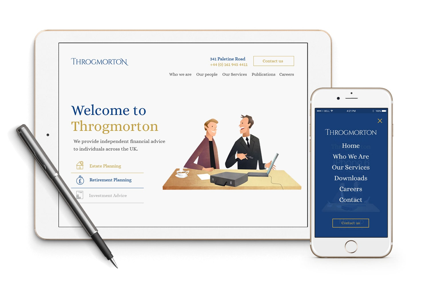 Throgmorton Responsive Web Design on Mobile & Tablet