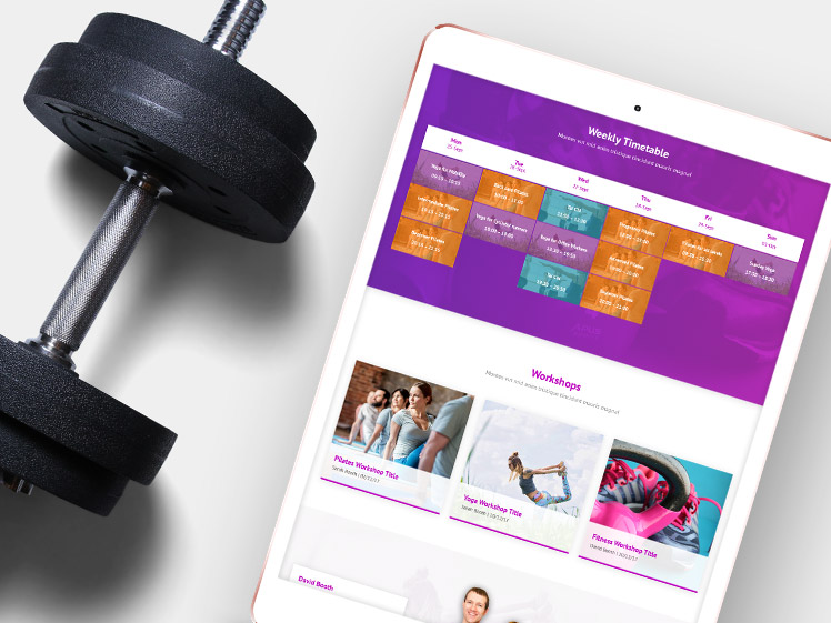 BVariety Fitness website design on mobile device